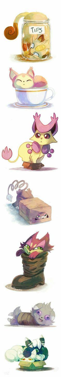 Pokémon, cats, boxes, jars, cute; Pokémon