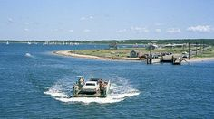 Chappaquiddick A ferry with a car on board crosses from Edgartown, Mass., to Chappaquiddick Island. Jane's Addiction, Ted Kennedy, Nantucket, Cape Cod, Crosses, Great Places, Boat, Island, Travel