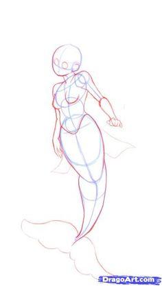 drawing mermaid tutorial | how to draw a cute mermaid step 3