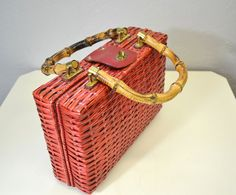 Vintage strawberry red wicker handbag with bamboo handles