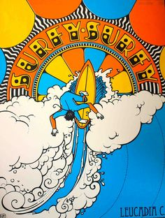 Peter Max -inspired poster for Surfy Surfy boards