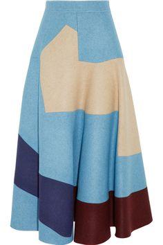 Roksanda Ilincic|Amitis patchwork wool-felt midi skirt|NET-A-PORTER.COM