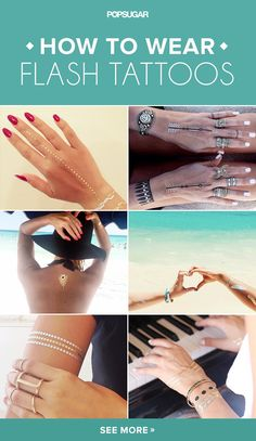 You're anything but basic, so why should the way you style your Flash Tattoos be boring? Get inspired by these real girl ways to apply your metallic temporary tattoos. From arm parties to back tattoos, these styling tricks will make you the flashiest girl on the beach.