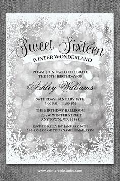 Sweet 16 Winter Wonderland Invitations Silver Glitter Lights