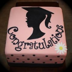 Silhouette Graduation Cake This cake was transported in two pieces. Since I didn't transport it, I wont get to see it assembled! Graduation Celebration, Celebration Cakes, Graduation Cake, Graduation Ideas, Fondant Cakes, Cupcake Cakes, Congratulations Cake, Silhouette Cake, Occasion Cakes