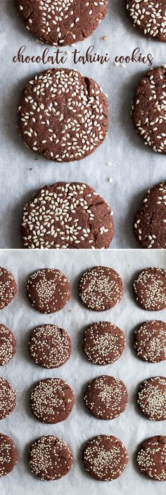6 ingredient #chocolate #tahini #cookies that are #easy to make, #delicious, #vegan, #glutenfree and refined #sugarfree too! #recipe #recipes #treat #cookie #biscuit #biscuits #dessert #healthy