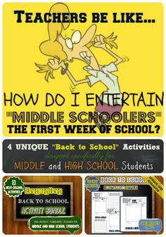 """4 FUN """"Back to School"""" Icebreaker Activities that MIDDLE and HIGH school students will love..."""