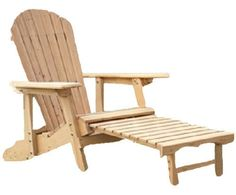 This Reclining Adirondack Chair with Pull-out Ottoman in Natural Fir Wood is not your father's Adirondack chair. It features superior craftsmanship and an ergonomic structure that makes it an amazing