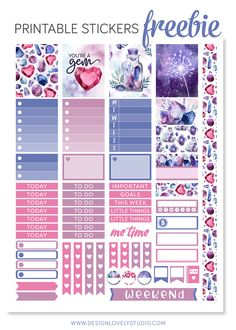 Free Printable Beautiful Gem Planner Stickers from Design Lovely Studio {subscription required} To Do Planner, Free Planner, Planner Pages, Happy Planner, Planner Ideas, Journal Stickers, Printable Planner Stickers, Free Printable, Papel Scrapbook