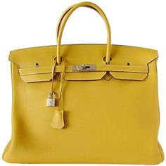 HERMES - HERMES Birkin 40 Bag Unique CURRY mint beauty ❤ liked on Polyvore featuring bags, hermes, borse, purses and bolsas