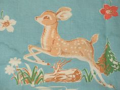 Darling deer and fawn scene. I have extensive experience working with vintage textiles, as well as a highly discerning eye for quality and condition.