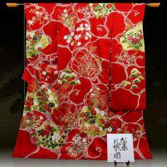 〔品質〕 ・皇室献上作家 藤井寛 作 ・落款があります。 ・絹100%使用しております。 ・本染め ・金彩糸目加工 ・肩身丈:約180cm