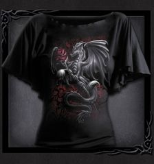 DRAGON ROSE - Boat Neck Bat Sleeve Top Black - do you see a theme developing here?