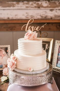 Delicate Wedding Cake with a Gold Laser Cut Topper | Audrey Rose Photography | http://heyweddinglady.com/playful-elegant-southern-blush-wedding-floral-print/
