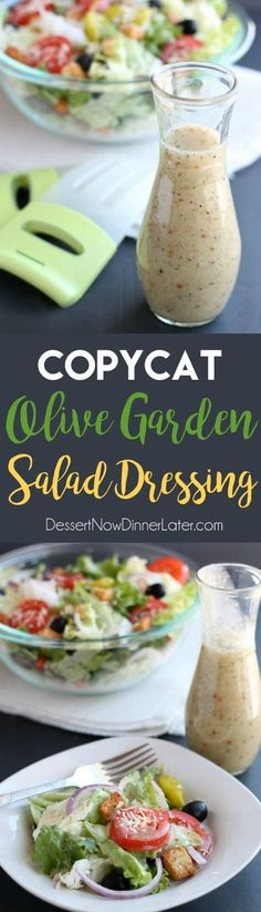 This Copycat Olive Garden Salad Dressing is as close as it gets to the real deal, without the high fructose corn syrup!( use copy cat good seasons Italian dressing pin reduce salt by more than half ) Olive Garden Salad, Olive Garden Recipes, Salad Dressing Recipes, Salad Recipes, Party Recipes, Olives, Dessert, Sauces, Dressings