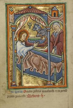 The Nativity; Unknown; Norfolk [perhaps] (written), East Anglia, England; illumination about 1190; written about 1490; Tempera colors and gold leaf on parchment; Leaf: 11.9 x 17 cm (4 11/16 x 6 11/16 in.); Ms. 101, fol. 29v