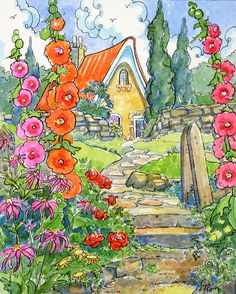 """""""Old Fashioned Greeting Storybook Cottage Series"""" ~ Alida Akers Abstract Watercolor, Watercolor Illustration, Watercolor Paintings, Watercolors, Cute Cottage, Cottage Art, Storybook Cottage, Colorful Drawings, Pictures To Paint"""