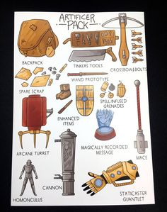 D&D Artificer's Pack Print // DnD Gift Class Fantasy Items // Alchemist Gunsmith Tinker Golem Wizard // Dungeons And Dragons // Inventory Dungeons And Dragons Characters, D&d Dungeons And Dragons, Dnd Characters, Fantasy Characters, Dnd Character Sheet, Fantasy Character Design, Dark Fantasy, Dnd Classes, Dnd Art