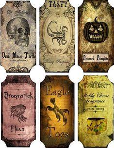 Vintage inspired Halloween 6 large bottle label stickers scrapbooking crafts