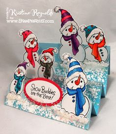 Supply List: Build a Snowman Perfectly Clear Stamps  by Stampendous EJK08 Encrusted Jewel Kit-white Stamp n Bond Cotton Ball White Flock Memento Tuxedo Black dye ink Copic Markers Mohawk Bright White, Bazzill Light Blue and bright pink Heat Tool Beacon Zip Dry Paper Adhesive