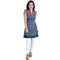 Cotton Sleeveless Kurti Blue - Satarangi Bazar