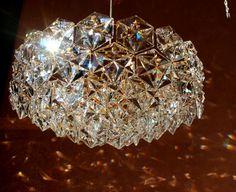 5-TIER GILDED KINKELDEY marked german 7 Lights Gold, Brass & Lead Crystal Chandelier Pendant Lamp 1970s 70s