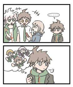 its the terror trios! or, the protagonist, mary sue love interest, and the asshole rival Danganronpa 3, Danganronpa Characters, Byakuya Togami, Makoto Naegi, Danganronpa Trigger Happy Havoc, Nagito Komaeda, Nanami, Otaku Anime, Memes
