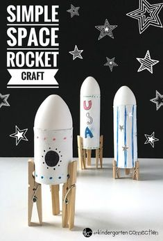 Your children are going to have a blast making this Simple Rocket Space Craft for Kids! Use supplies you already have on-hand! aus pet flaschen rakete Simple Rocket Space Craft for Kids Using Recycled Materials Craft Activities, Preschool Crafts, Easy Crafts, Arts And Crafts, Space Activities For Kids, Decor Crafts, Recycling Activities For Kids, Space Theme Preschool, Solar System Activities