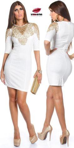Vestido demoda bordado en oro Zatla blanco