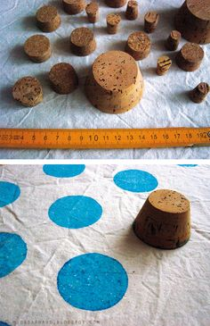 corks as fabric stamps - again - IF I do the laundry room in penny tile, either do the opposite painted wall with this technique of do a piece of fabric and frame it.