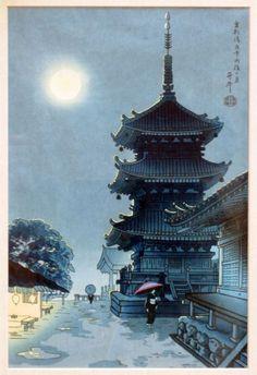 Benji Asada, Kiyomizu Temple in Misty Moon, 20th c.