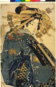 Woodblock print, kakemono-e. Bijinga. Courtesan parading in kimono patterned with leaping carp.1 of 2. Nishiki-e on paper.