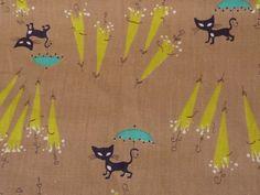 "Vtg Mid Century Modernist Cat Umbrella Novelty Print Cotton Fabric 35"" x 142"""