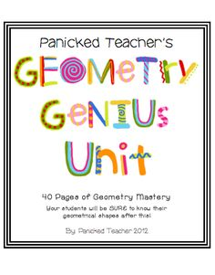 Panicked Teacher's Geometry Genius Unit
