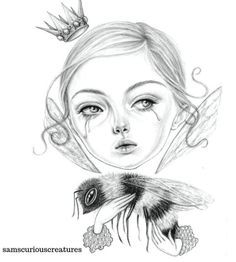 Queen Bee save them a signed or Giclée art print Curious Creatures, Graphite Drawings, Illustration Art, 3d Illustrations, Creepy Cute, Pigment Ink, Queen Bees, Print Artist, A5