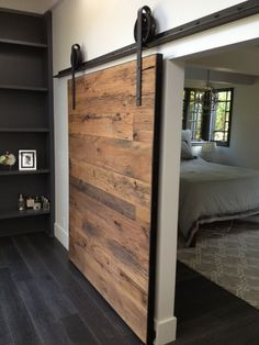 Here is a great sliding barn door project we built for Brandon Williams @ Willsheim Design & Build. We came up with a design to compliment the living space and provide privacy for the master bedroom suite. The door itself is 68″x81″x2″ and is on our 8″ custom hand-made industrial hardware and angle rail. It … #door #decoration