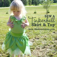 by Christina Dennis My good friend asked me to help her make a Tinkerbell fairy costume for her little girl's fourth birthday. We started with a gorgeous little green tutu made by Whimsical Elements, picked up some bright green satin from a local fabric shop, and she also snagged a $6 extra small women's tank top in
