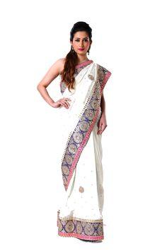 Ranas Woman Pure Georgette Ivory Saree