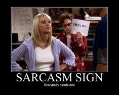 Everyone needs a sarcasm sign haha| Big Bang Theory