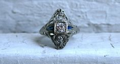 Vintage Fancy Filigree 18K White Gold Diamond and by GoldAdore