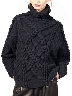 Black fisherman's knit #sweater ~ETS