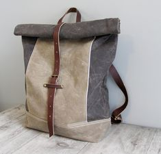 Waxed Canvas Backpack Rucksack Roll Top Tan and Brown by piprobins, $220.00