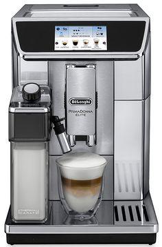 """DeLonghi PrimaDonna Elite ECAM 650.75.MS  DeLonghi PrimaDonna Elite ECAM 650.75.MS: Thuis de ultieme koffie ervaring Thuis genieten van de perfecte cappuccino latte macchiato espresso en zelfs warme chocolade! De DeLonghi PrimaDonna Elite ECAM 650.75.MS heeft een prachtig 43"""" gekleurd touch-display waarmee jij direct toegang hebt tot al jouw favoriete dranken.De instelling zijn zeer eenvoudig aan te passen naar jouw voorkeuren en smaak.Met een geheugen voor zes gebruikersprofielen kan de…"""