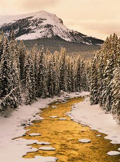 Maligne River in winter, Jasper National Park, Alberta, Canada