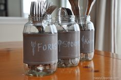 DIY Chalkboard Glass Jars - upcycle your plain glass jars into a new life. BBQ cutlery holders, sewing & craft items, collections ... use your imagination. | The Micro Gardener