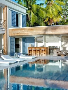 Stunning exterior pool and patio. Get the look with Dunn-Edwards San Miguel Blue for your shutters and Catalina for your house body and accents. Outdoor Rooms, Outdoor Living, Villas In Barbados, Barbados Beaches, Barbados Travel, Pool Bar, Pool Houses, Glass Houses, Beach Houses