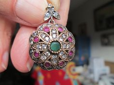 Vintage Sparkling Deco Large Flower Green Emerald & Icy White Sapphire Rose Gold/Sterling Silver Pendant,  Wt. 8.4 Grams by TamisVintageShop on Etsy