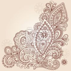 """Wall Mural """"henna, flower, doodle - henna mehndi paisley flower doodle vector design"""" ✓ Easy Installation ✓ 365 Day Money Back Guarantee ✓ Browse other patterns from this collection!"""