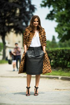 Christine Centenera wears a Burberry coat and Azzedine Alaïa shoes Street Style at the Couture Shows in Paris