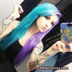 colorful hair, two toned hair, colored hair, blue and purple hair, light blue, light purple. Half and half hair color
